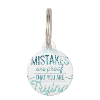 Learn from mistakes motivational typography quote pet name tag