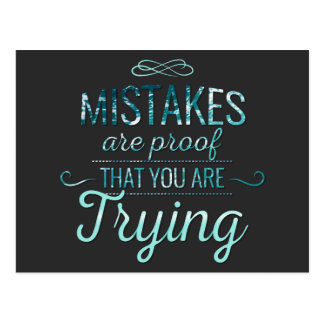 Learn from mistakes motivational typography quote postcard
