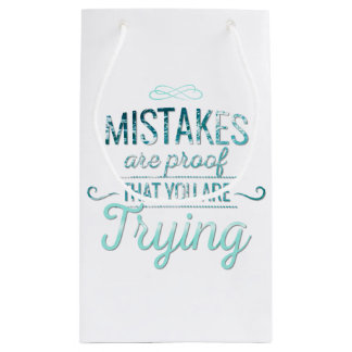 Learn from mistakes motivational typography quote small gift bag