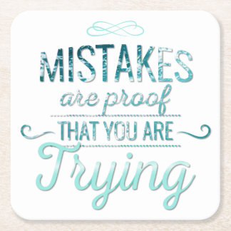 Learn from mistakes motivational typography quote square paper coaster