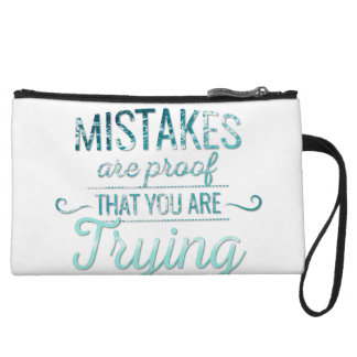 Learn from mistakes motivational typography quote wristlet clutch