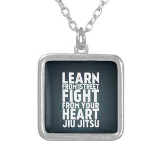 Learn from the street Jiu Jitsu black Silver Plated Necklace
