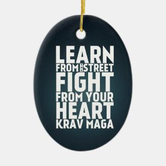 Learn from the Street Krav Maga black Ceramic Ornament