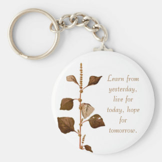 Learn from yesterday, live for today, hope for tom basic round button keychain