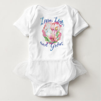 learn laugh grow beautiful flowers, flowers baby bodysuit