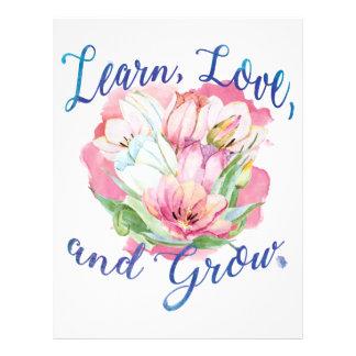 learn laugh grow beautiful flowers, flowers letterhead