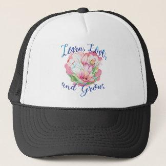 learn laugh grow beautiful flowers, flowers trucker hat
