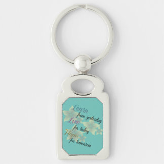 Learn Live Hope Silver-Colored Rectangle Keychain