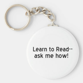 Learn to Read Basic Round Button Keychain