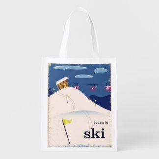 learn to ski vintage cartoon. reusable grocery bag