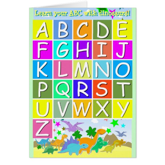 Learn Your ABC With Dinosaurs Letters A-Z Alphabet Card