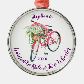 Learned to Ride Bike Keepsake and Year Metal Ornament
