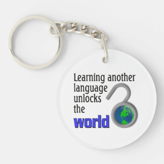 Learning another language unlocks the world Single-Sided round acrylic keychain