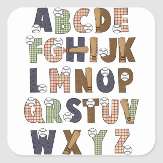 Learning Candy Baseball ABCs Alphabet Letters Square Sticker