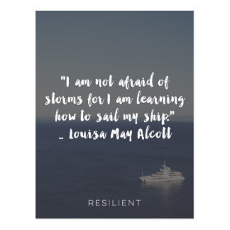 """""""Learning How to Sail My Ship"""" Cursive Quote Postcard"""
