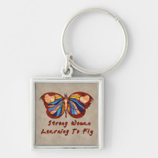 Learning To Fly Silver-Colored Square Keychain