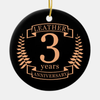 Leather 3 years wedding anniversary ceramic ornament