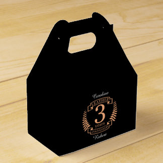 Leather 3 years wedding anniversary favor box