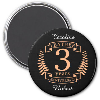 Leather 3 years wedding anniversary magnet