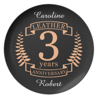 Leather 3 years wedding anniversary plate