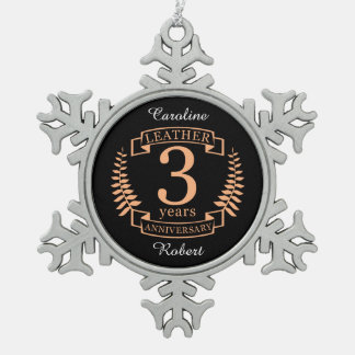 Leather 3 years wedding anniversary snowflake pewter christmas ornament
