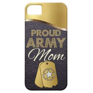 Leather and Gold Proud Army Mom iPhone 5 Cover