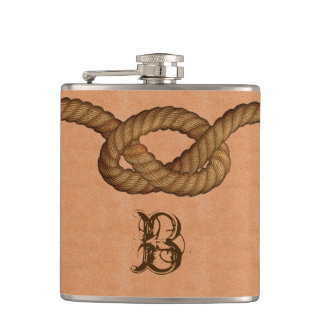 Leather and Rope Custom Monogrammed Flask