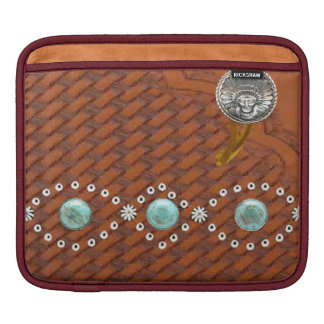 "Leather ""Apache"" Turquoise Western IPad Sleeve"