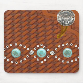 """Leather """"Apache"""" Turquoise Western Mousepad"""