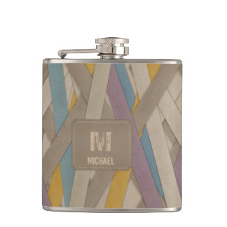 Leather belts stripes flask