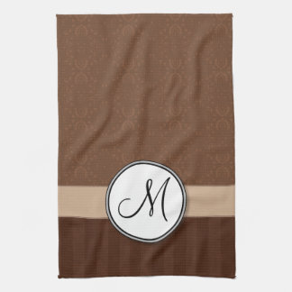 Leather Brown Damask with Stripes and Monogram Kitchen Towel