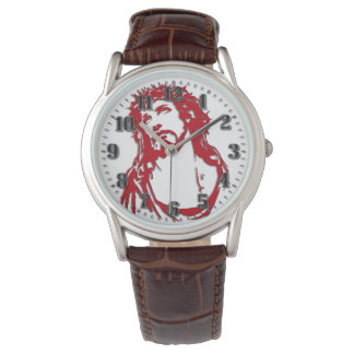 "Leather clock brown ""JESUS "" Watch"