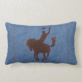 Leather Cowboy and Horse on Denim (Lumbar Pillow) Lumbar Pillow