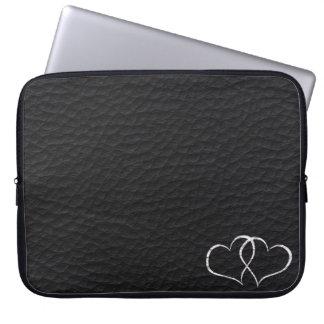 Leather Hearts - Black - Laptop Sleeve