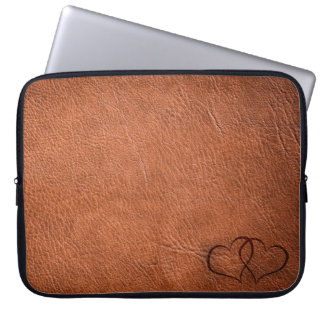 Leather Hearts - Brown - Laptop Sleeve