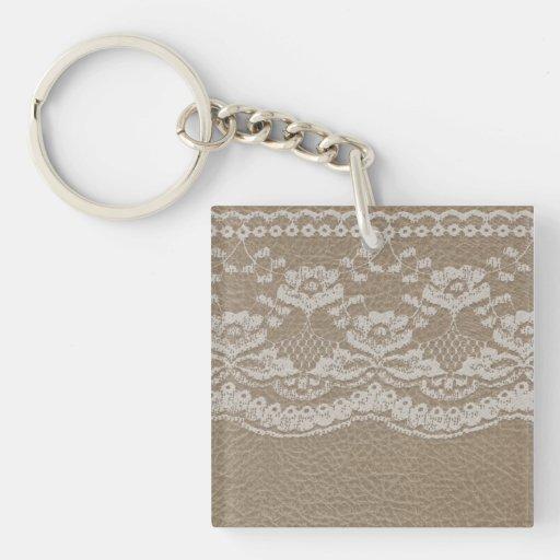 Leather & Lace Wedding Acrylic Keychain