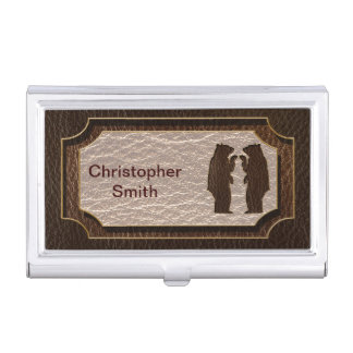 Leather-Look Black Bear Dark Case For Business Cards