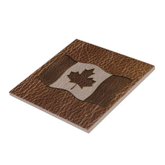 Leather-Look Canada Flag Ceramic Tiles