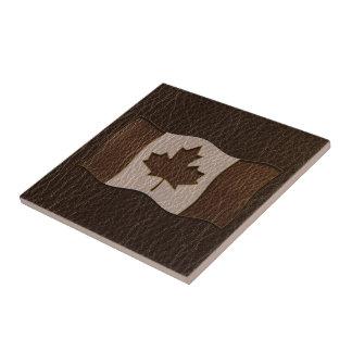 Leather-Look Canada Flag Dark Tile