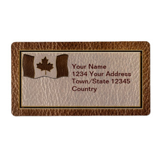 Leather-Look Canada Flag Personalized Shipping Labels