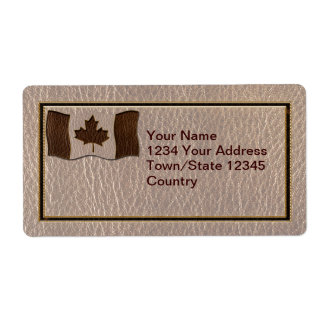 Leather-Look Canada Flag Soft Personalized Shipping Label