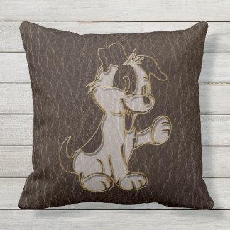 Leather-Look Dog Dark Throw Pillow