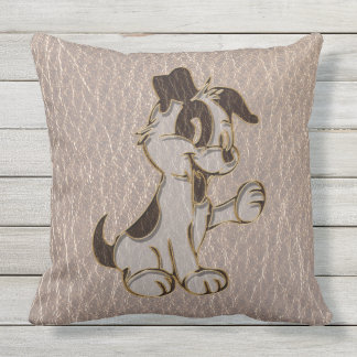Leather-Look Dog Soft Outdoor Pillow