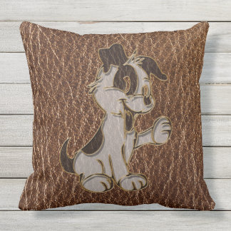 Leather-Look Dog Throw Pillow