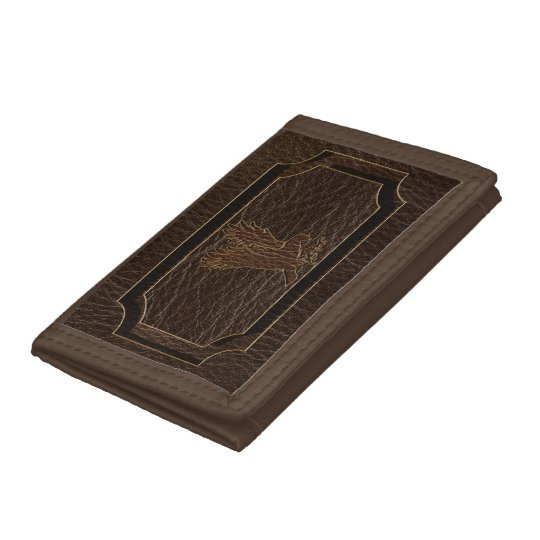 Leather-Look Eagle Dark Tri-fold Wallet