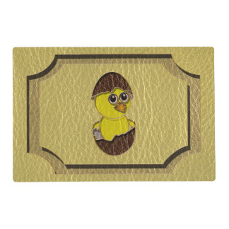 Leather-Look Easter Chicken Laminated Placemat