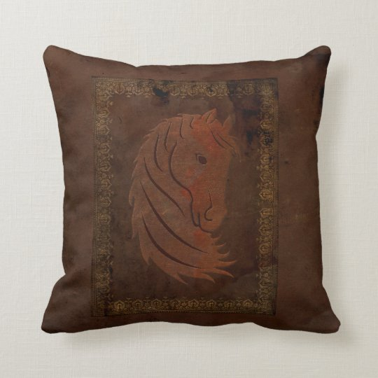 Leather Look Horse Decorator Pillow