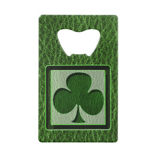 Leather-Look Irish Clover Credit Card Bottle Opener