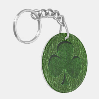 Leather-Look Irish Clover Double-Sided Round Acrylic Keychain