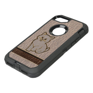 Leather-Look Kitten Soft OtterBox Defender iPhone 8/7 Case
